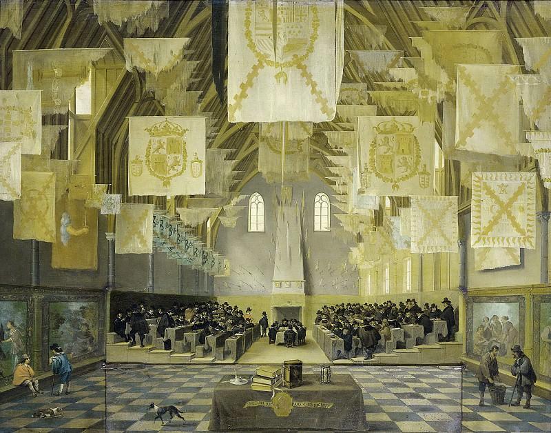 Delen, Dirck van -- De grote zaal op het Binnenhof, Den Haag, tijdens de grote vergadering der Staten Generaal in 1651, 1651-1671. Rijksmuseum: part 4