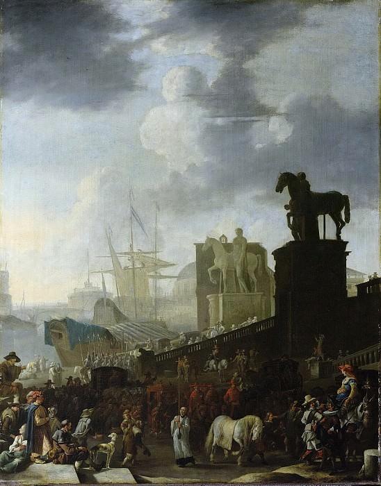 Lingelbach, Johannes -- De opgang naar het Kapitool met de schimmel van de nieuw gekozen paus, 1650-1674. Rijksmuseum: part 4