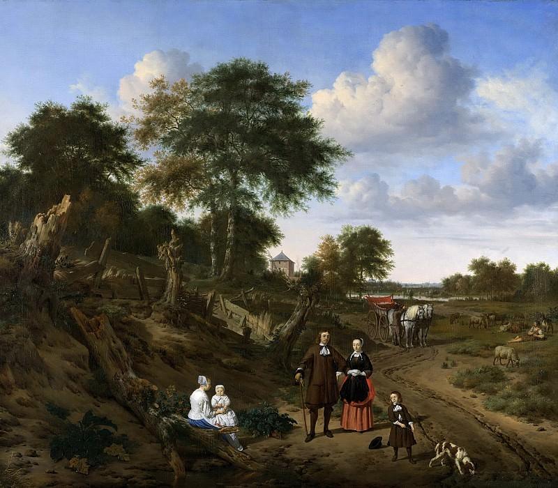 Адриан ван де Вельде -- Портрет супружеской пары с двумя детьми и няней на фоне пейзажа, 1667. Рейксмузеум: часть 4