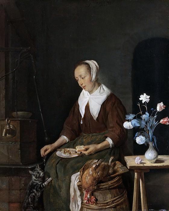 Metsu, Gabriël -- Vrouw aan de maaltijd, bekend als 'Het ontbijt van de kat, 1660-1667. Rijksmuseum: part 4