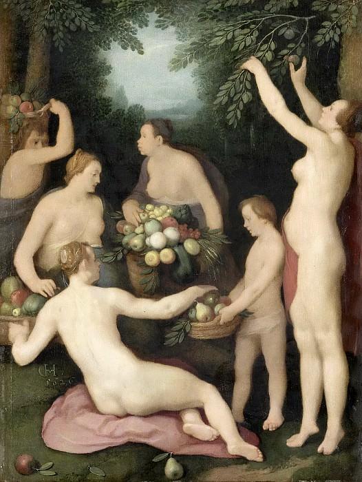 Cornelisz. van Haarlem, Cornelis -- Pomona ontvangt de fruitoogst, 1626. Rijksmuseum: part 4