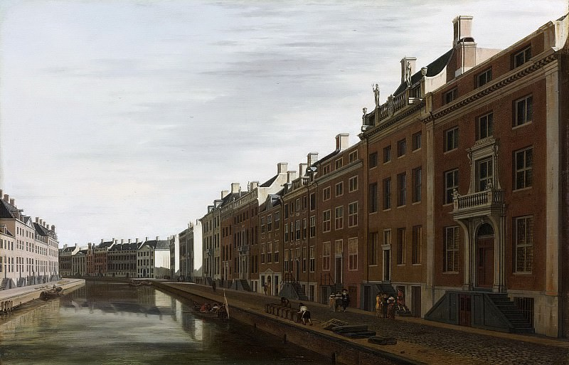 Беркхейде, Геррит Адрианс II -- Изгиб канала Херендрахт у Новой Зеркальной улицы в Амстердаме, 1672. Рейксмузеум: часть 4