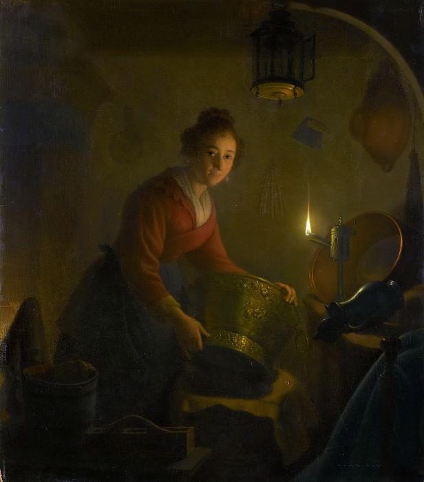 Versteegh, Michiel -- Een vrouw in een keuken bij kaarslicht, 1830. Rijksmuseum: part 4