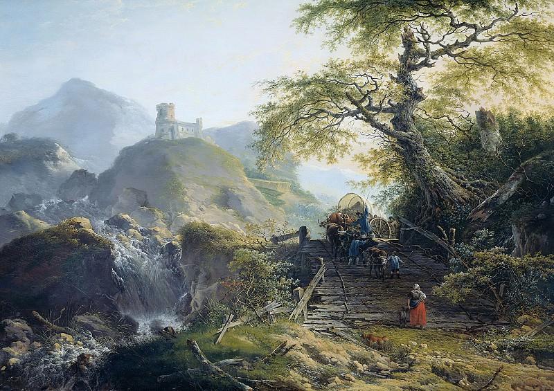 Герард ван Неймеген -- Мужчины, управляющие повозкой с бычьей упряжкой на деревянном мосту в горах, 1790. Рейксмузеум: часть 4