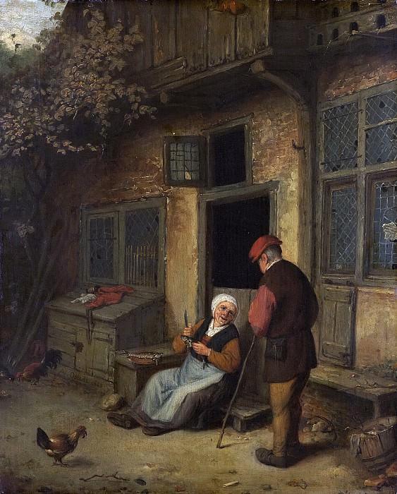 Ostade, Adriaen van -- Een vrouw haring schoonmakend voor een huis, 1650-1700. Rijksmuseum: part 4