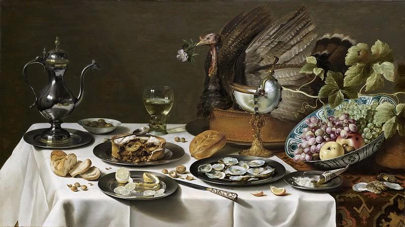 Claesz., Pieter -- Stilleven met kalkoenpastei, 1627. Rijksmuseum: part 4