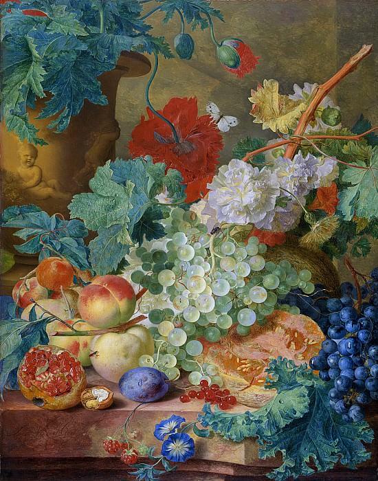 Huysum, Jan van -- Stilleven met bloemen en vruchten, 1728. Rijksmuseum: part 4