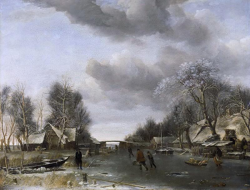 Ян ван де Капелле -- Вид деревни зимой, 1652-1653. Рейксмузеум: часть 4
