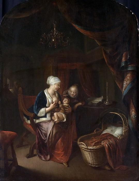 Герард Доу -- Мать, дающая грудь своему ребёнку, 1660-1676. Рейксмузеум: часть 4
