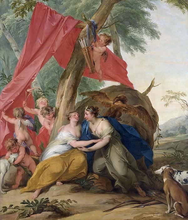 Якоб де Вит -- Юпитер в образе орла, смотрящий, как Диана соблазняет нимфу Каллисто, 1727. Рейксмузеум: часть 4