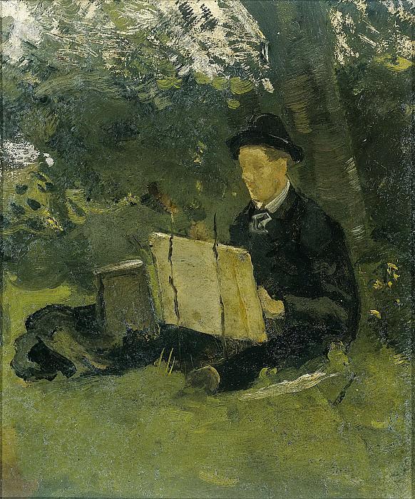 Roland Holst, Richard -- Jan Verkade (1868-1946) schilderend onder een boom (1891), 1891. Rijksmuseum: part 4