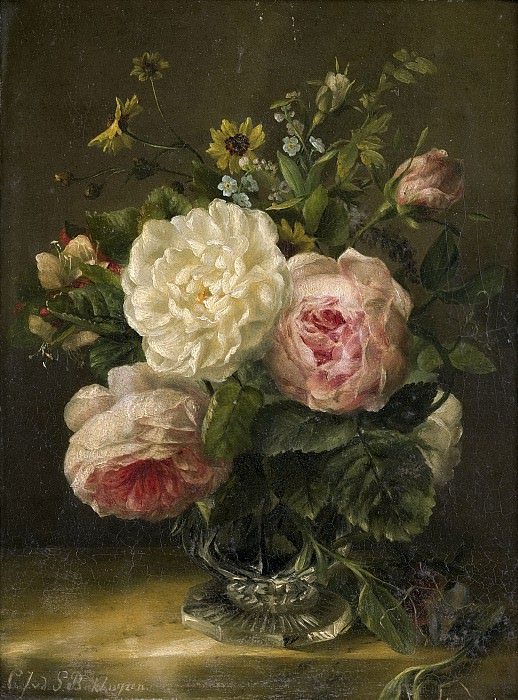 Герардина Якоба ван де Санде Бакхейзен -- Натюрморт с цветами в хрустальной вазе, 1850-1880. Рейксмузеум: часть 4