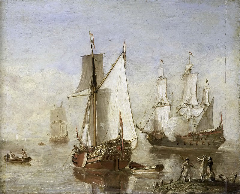 Unknown artist -- Speeljacht en oorlogsschip, 1675-1699. Rijksmuseum: part 4