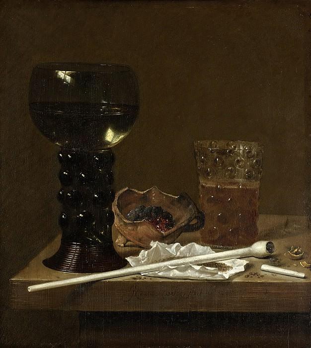 Velde, Jan Jansz. van de (III) -- Stilleven met roemer, bierglas en pijp, 1658. Rijksmuseum: part 4
