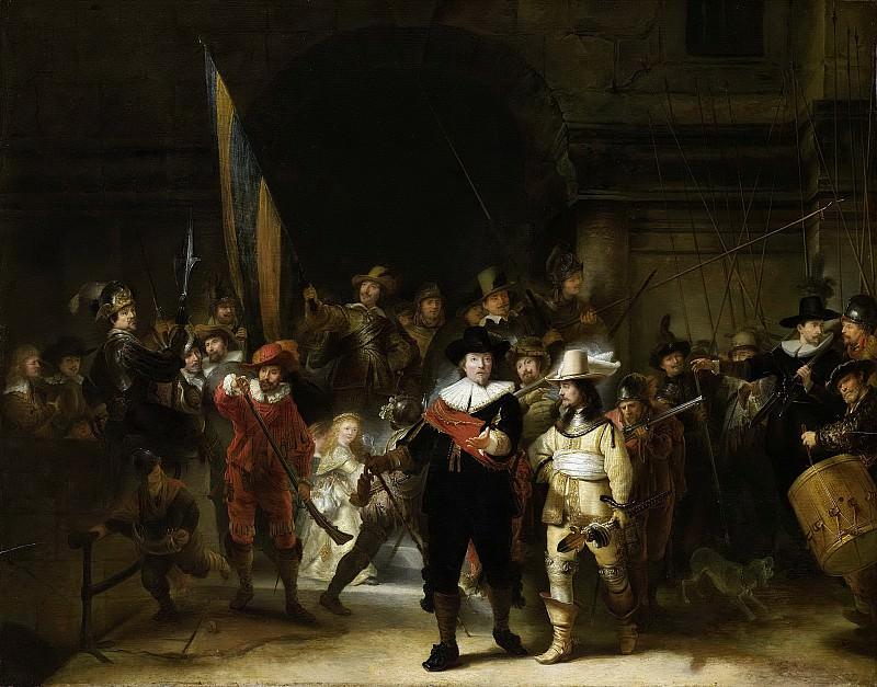 Рембрандт, Харменс ван Рейн -- Ночной дозор (Офицеры и рядовые стрелки квартала II в Амстердаме под началом капитана Франса Баннинга Кока и лейтенанта Виллема ван Рейтенбурха), 1642-1683. Рейксмузеум: часть 4