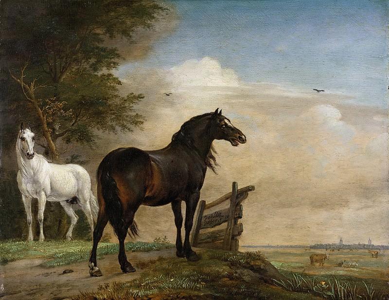 Пауль Поттер -- Две лошади на лужайке у останков забора, 1649. Рейксмузеум: часть 4