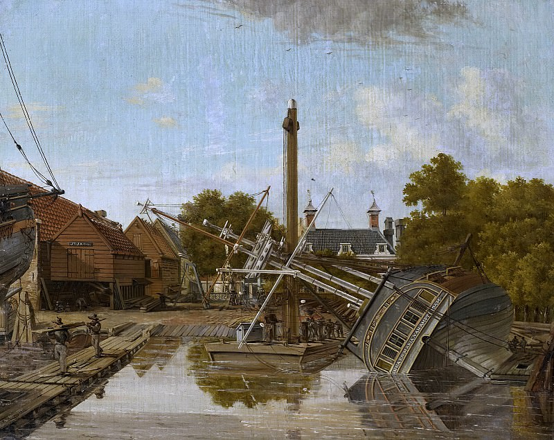 Питер Годфрид Бертихен -- Судоремонтная верфь «Святой Яго» на острове Бикерс в Амстердаме, 1823. Рейксмузеум: часть 4