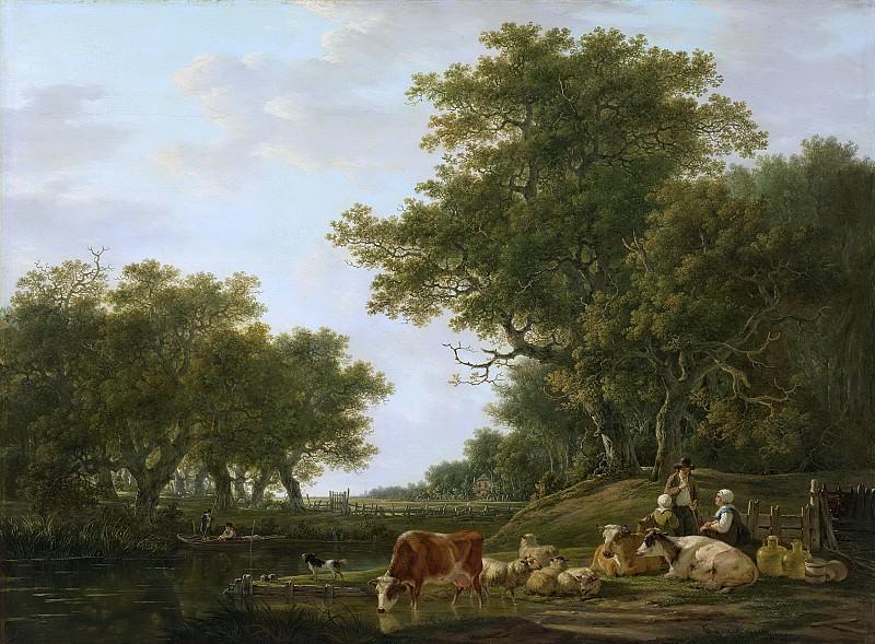 Якоб ван Стрей -- Крестьяне у своего скота и рыбаки возле воды на фоне пейзажа, 1800-1810. Рейксмузеум: часть 4