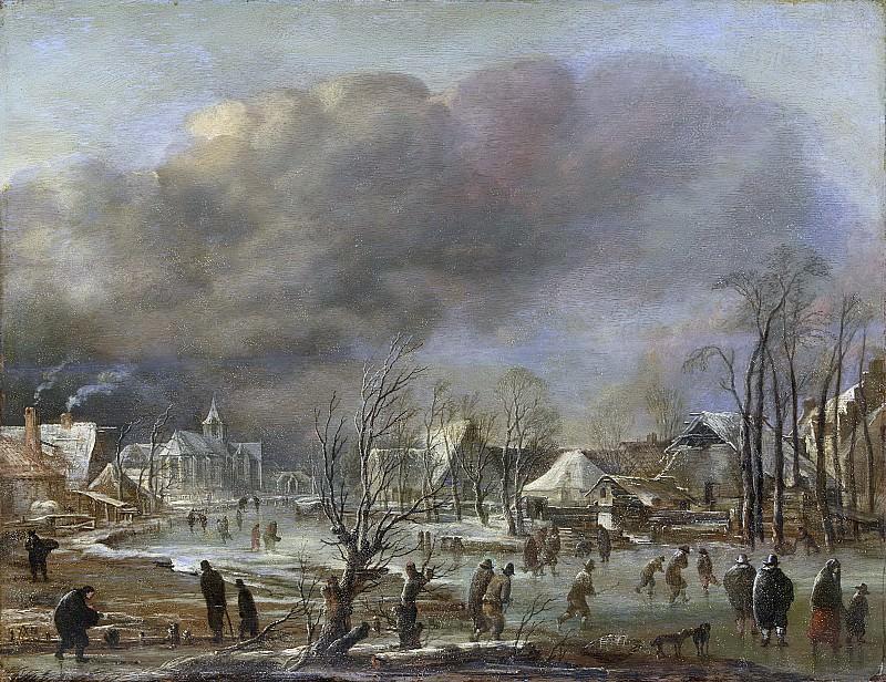 Neer, Aert van der -- Dorp aan een bevroren vaart bij een sneeuwbui, 1630-1677. Rijksmuseum: part 4