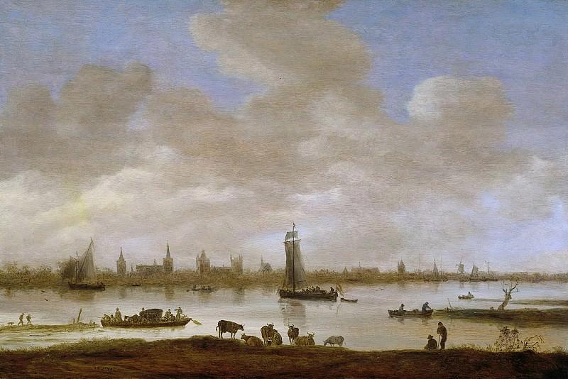 Goyen, Jan van -- Gezicht op een gefantaseerde stad aan een rivier met de toren van Saint Pol uit Vianen, 1649. Rijksmuseum: part 4
