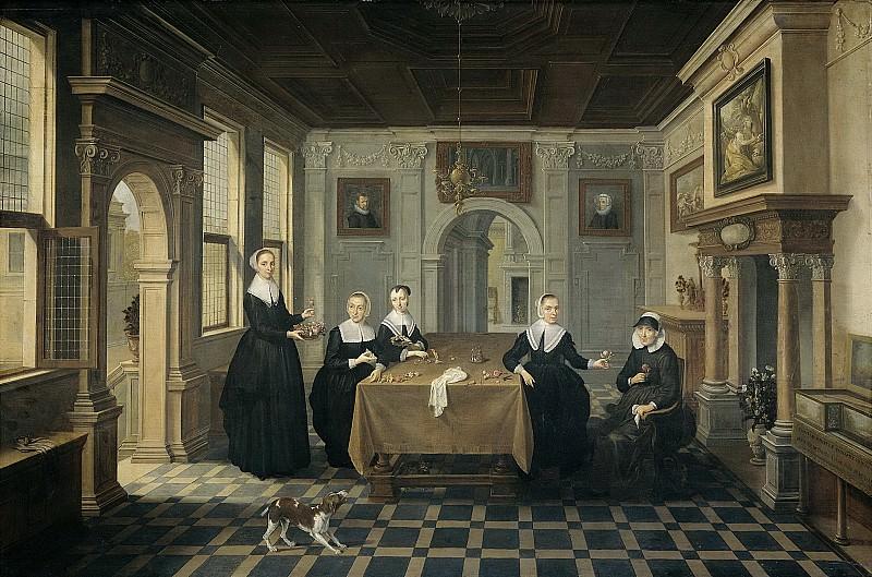Delen, Dirck van -- Interieur met vijf dames, 1630-1652. Rijksmuseum: part 4