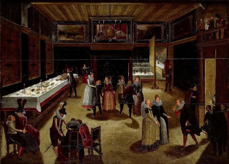 Caullery, Louis de -- Feestvierend gezelschap bij avond, 1600-1620. Rijksmuseum: part 4