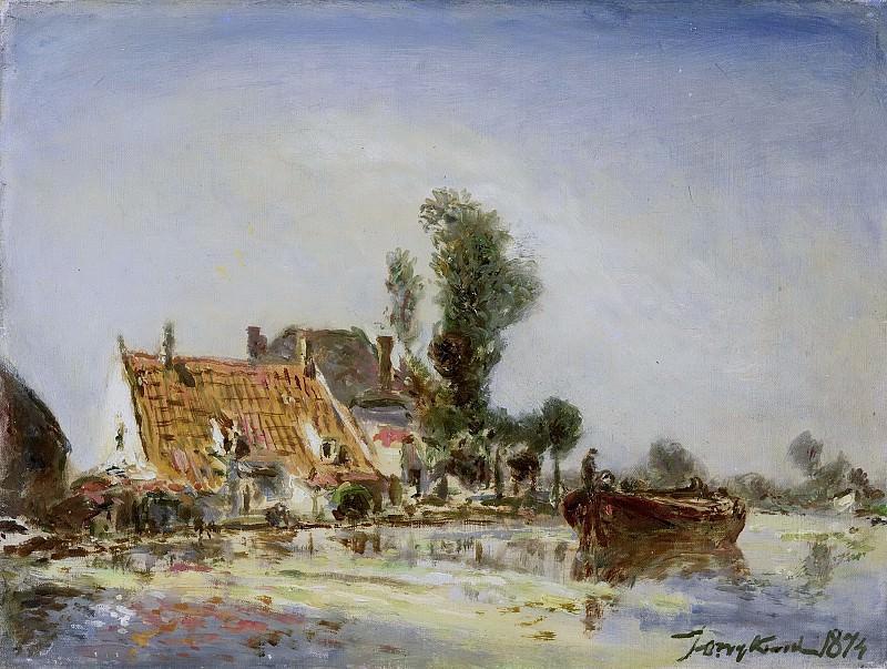 Jongkind, Johan Barthold -- Huizen aan een vaart bij Crooswijk, 1874. Rijksmuseum: part 4