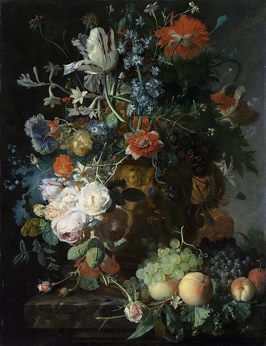 Huysum, Jan van -- Stilleven met bloemen en vruchten, 1721. Rijksmuseum: part 4