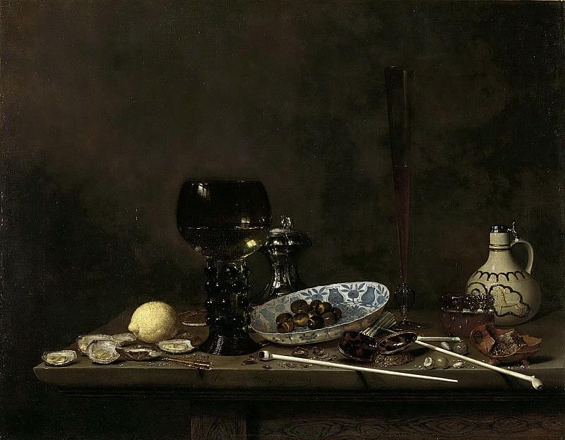 Velde, Jan Jansz. van de (III) -- Stilleven met roemer, fluit, aarden kruik en pijpen, 1651. Rijksmuseum: part 4