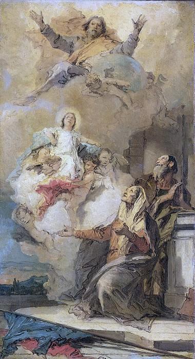 Tiepolo, Giovanni Battista -- God de Vader zendt de Maagd Maria aan haar ouders Joachim en Anna, 1757-1759. Rijksmuseum: part 4