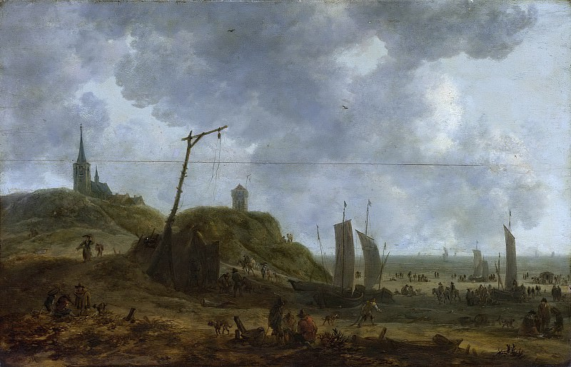 Адриан ван дер Кабел -- Морской берег в Катвейке, 1650-1670. Рейксмузеум: часть 4