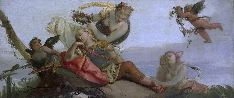 Zugno, Francesco -- De slapende Rinaldo door Amida met een bloemenkrans gekroond, 1750-1780. Rijksmuseum: part 4