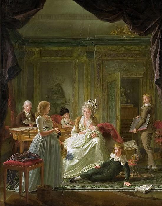 Muys, Nicolaes -- Aernout van Beeftingh (1759-1831) met zijn eerste vrouw Jacoba Maria Boon (1760-1800) en hun kinderen, 1797. Rijksmuseum: part 4