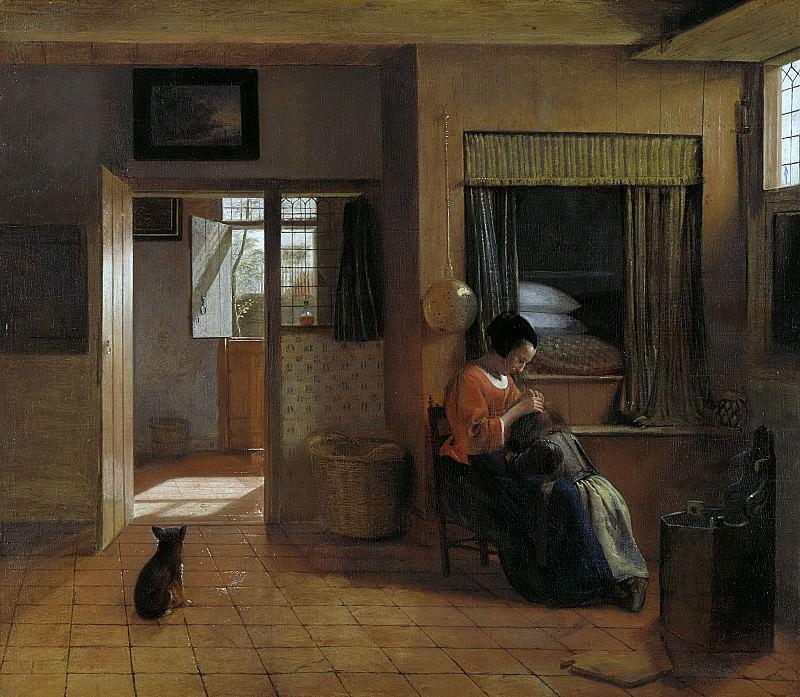 Hooch, Pieter de -- Binnenkamer met een moeder die het haar van haar kind reinigt, bekend als 'Moedertaak, 1658-1660. Rijksmuseum: part 4