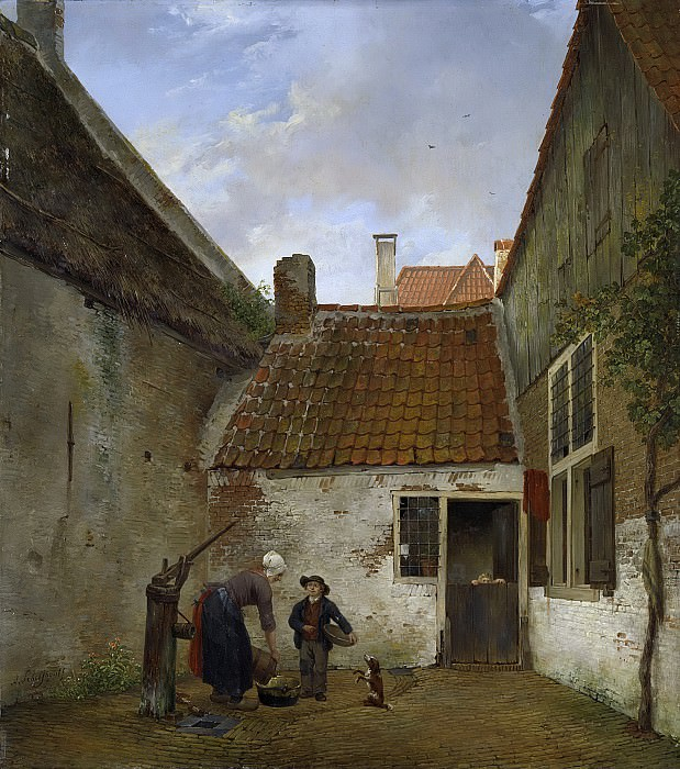 Schelfhout, Andreas -- Binnenplaatsje, 1820-1830. Rijksmuseum: part 4