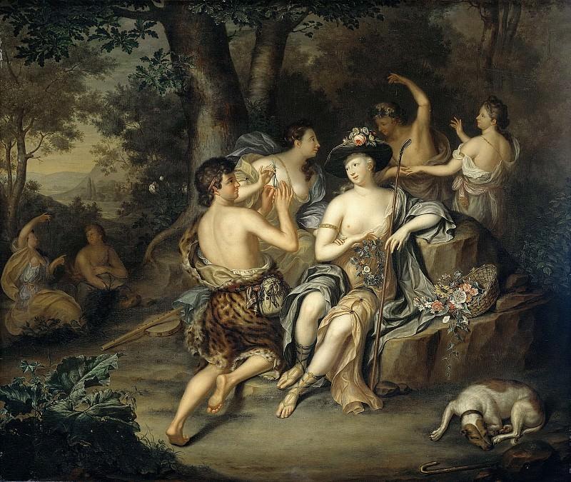 Хиеронимус ван дер Мей -- Пастухи и пастушки на фоне пейзажа, 1735. Рейксмузеум: часть 4