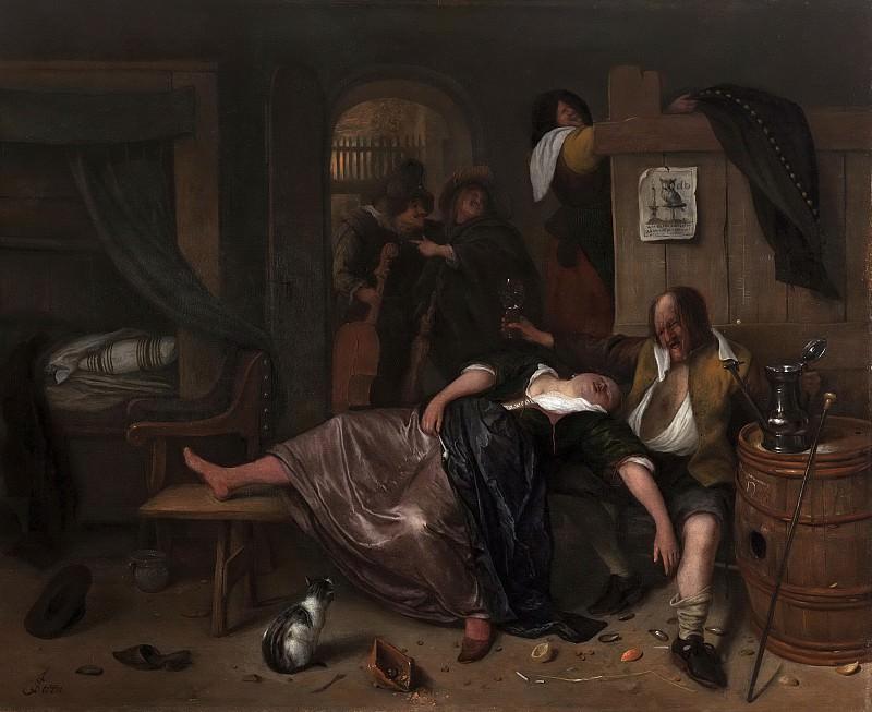 Ян Хавикс Стен -- Пьяная парочка, 1655-1665. Рейксмузеум: часть 4