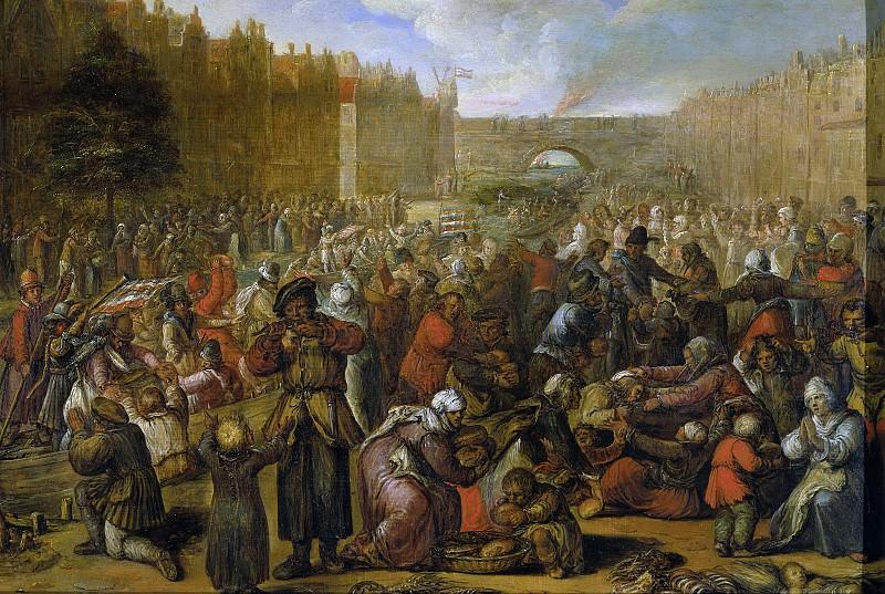 Veen, Otto van -- De uitdeling van haring en wittebrood na de opheffing van het beleg van Leiden, 3 oktober 1574, 1574-1629. Rijksmuseum: part 4