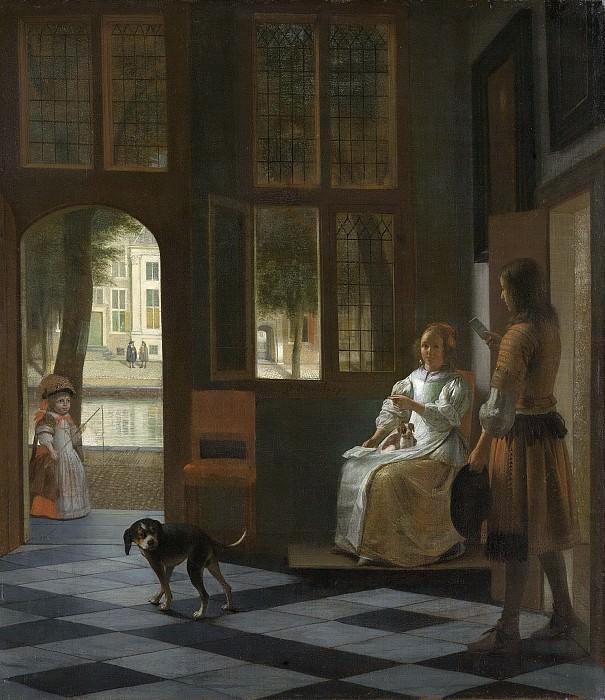 Hooch, Pieter de -- Het aanreiken van een brief in een voorhuis, 1670. Rijksmuseum: part 4