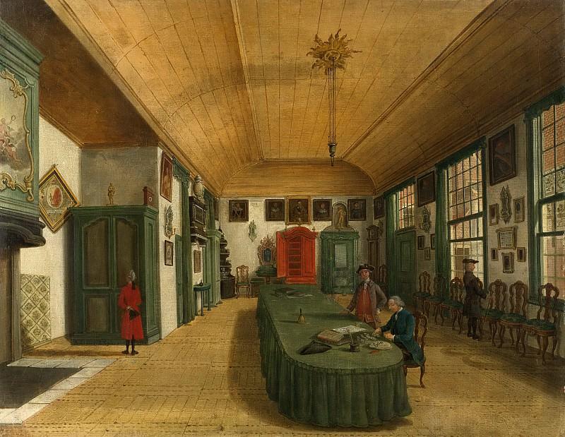 Fargue, Paulus Constantijn la -- Interieur van de zaal van het genootschap 'Kunst wordt door Arbeid verkregen' te Leiden, 1780. Rijksmuseum: part 4