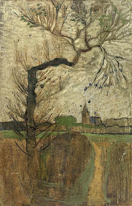 Roland Holst, Richard -- Voetpad met wilg en dorpje aan de horizon (1891), 1891. Rijksmuseum: part 4