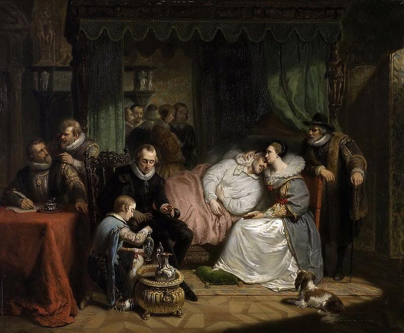 Pieneman, Nicolaas -- Prins Willem I, na de mislukte moordaanslag door Jean Jauregui in 1582, verpleegd door Charlotte de Bourbon, 1840. Rijksmuseum: part 4