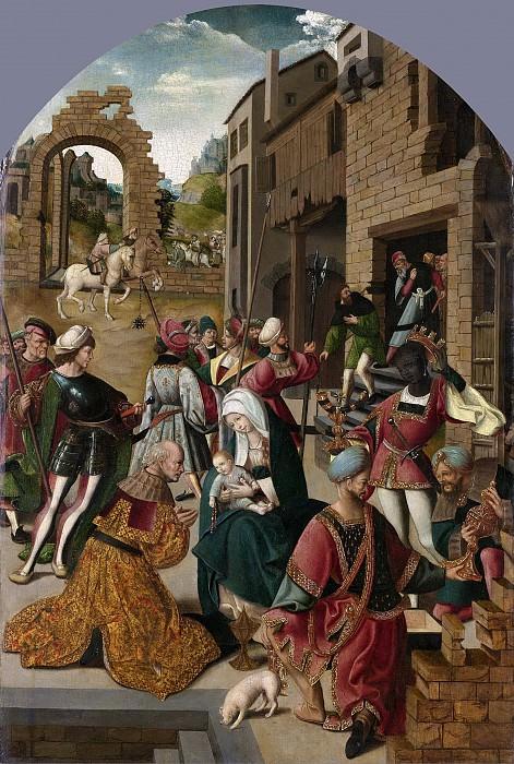 Cornelisz. van Oostsanen, Jacob -- De aanbidding der koningen, 1510-1515. Rijksmuseum: part 4