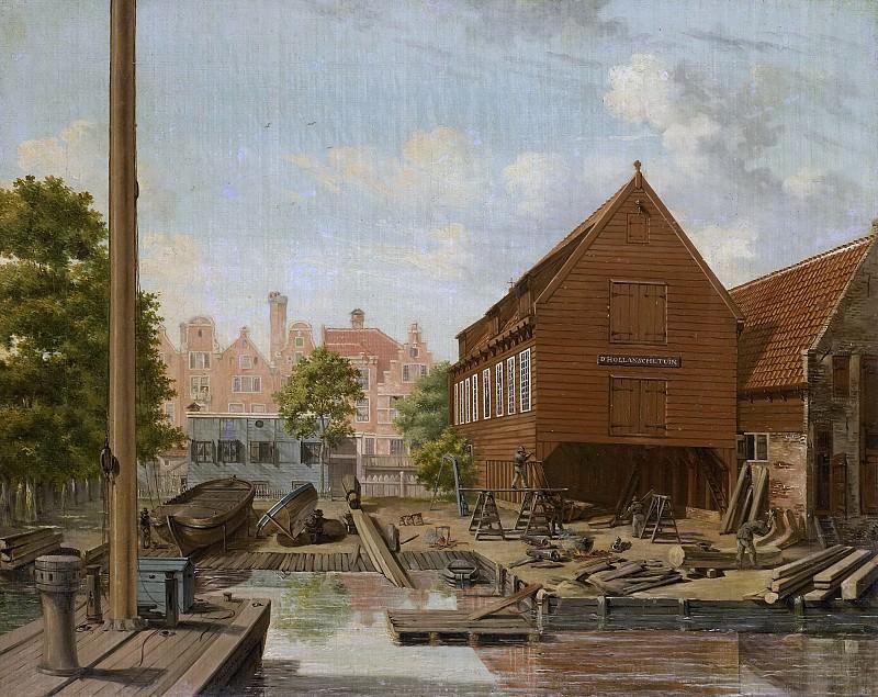 Bertichen, Pieter Godfried -- De scheepstimmerwerf 'D'Hollandsche Tuin' op het Bickers Eiland te Amsterdam., 1823. Rijksmuseum: part 4