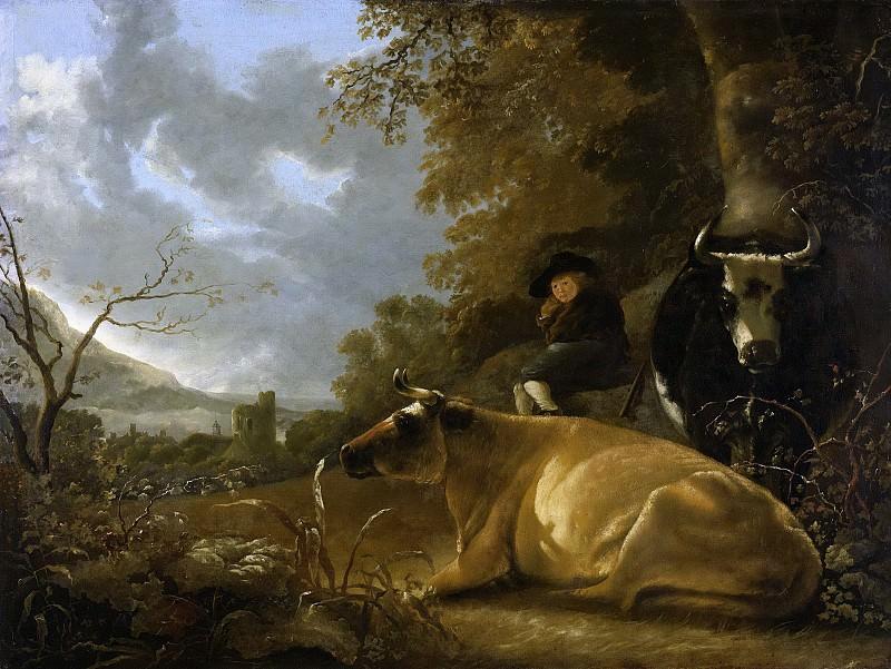 Альберт Кейп -- Пастушонок с коровами на фоне пейзажа, 1650-70. Рейксмузеум: часть 4