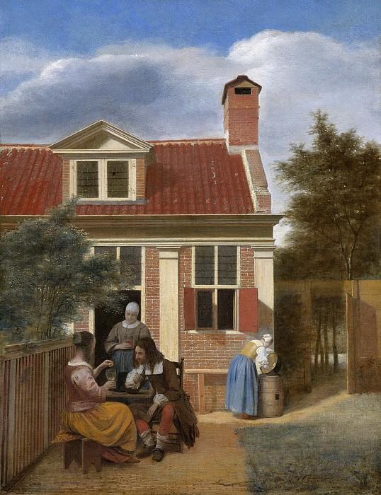 Hooch, Pieter de -- Een gezelschap op de plaats achter een huis, 1663-1665. Rijksmuseum: part 4