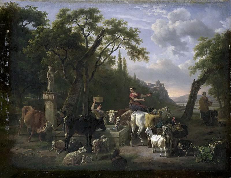 Demarne, Jean Louis -- Italiaans landschap met herders en vee bij een drenkplaats, 1780-1810. Rijksmuseum: part 4