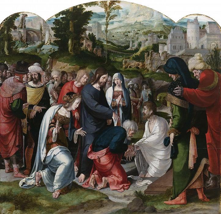 Claesz. van Leyden, Aertgen -- Middenpaneel van een drieluik met de opwekking van Lazarus, 1530-1535. Rijksmuseum: part 4