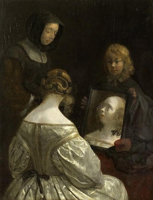 Borch, Gerard ter (II) -- Vrouw voor een spiegel, 1652. Rijksmuseum: part 4