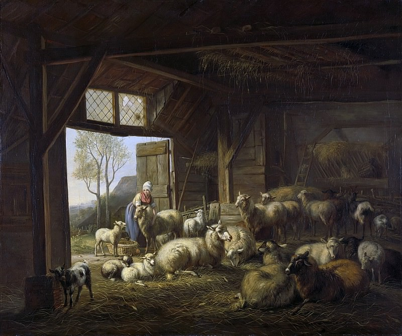 Ravenswaay, Jan van -- Schapen en geiten in de stal, 1821. Rijksmuseum: part 4